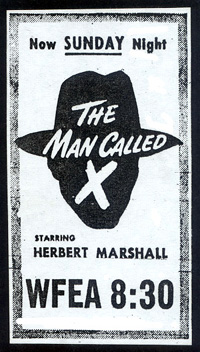 WFEA newspaper ad for The Man Called X - November 2, 1947