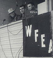 WFEA's Palmer Payne, Al Rock and unidentified engineer