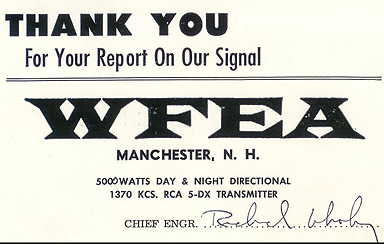 late 1960s WFEA QSL card